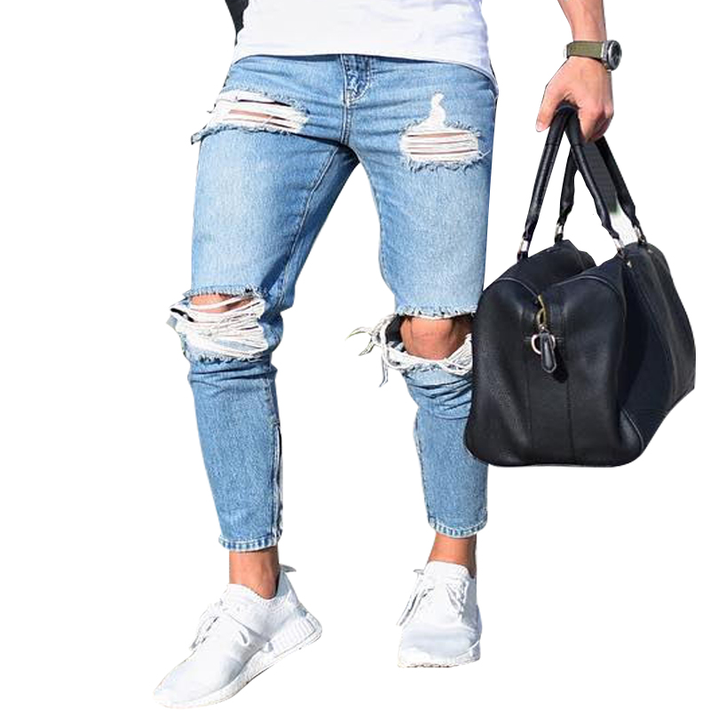 2019 Light-colored Hole Pants Jeans Men's Jeans Skinny Slim  Ripped Distressed Pleated Knee Hole Denim Pants 4XL Large Size