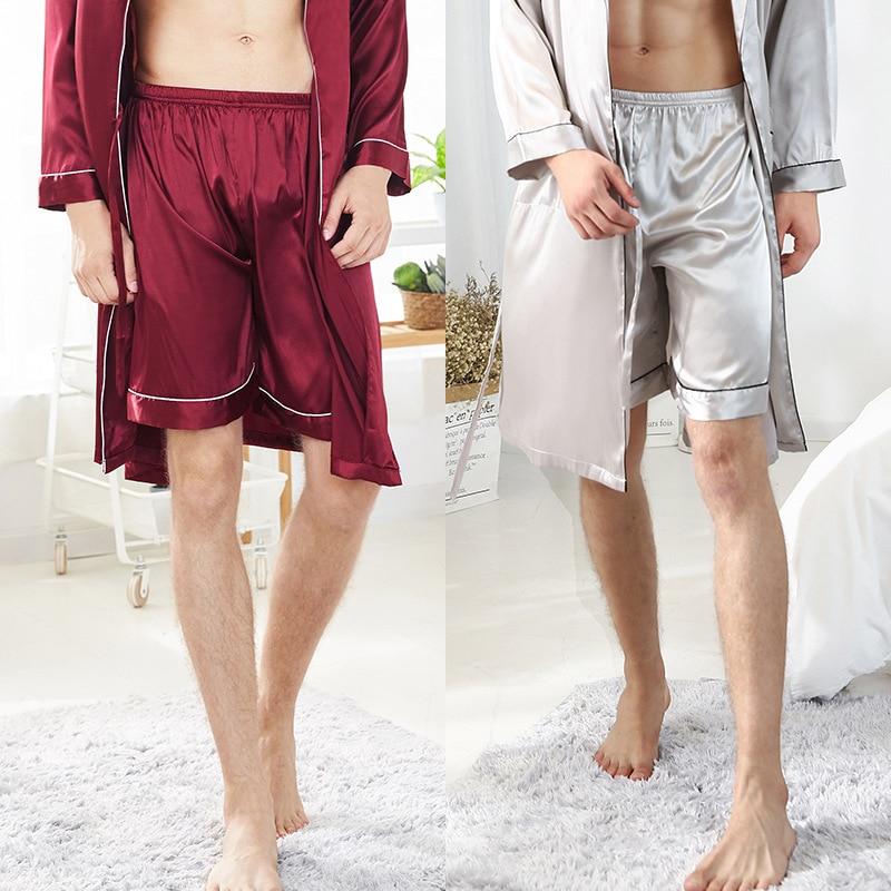 2020 Silk Thin Pajamas Men's ice Silk Single Shorts Men's Pajamas Summer Loose Home Clothes Sleepwear Men Simple And Natural