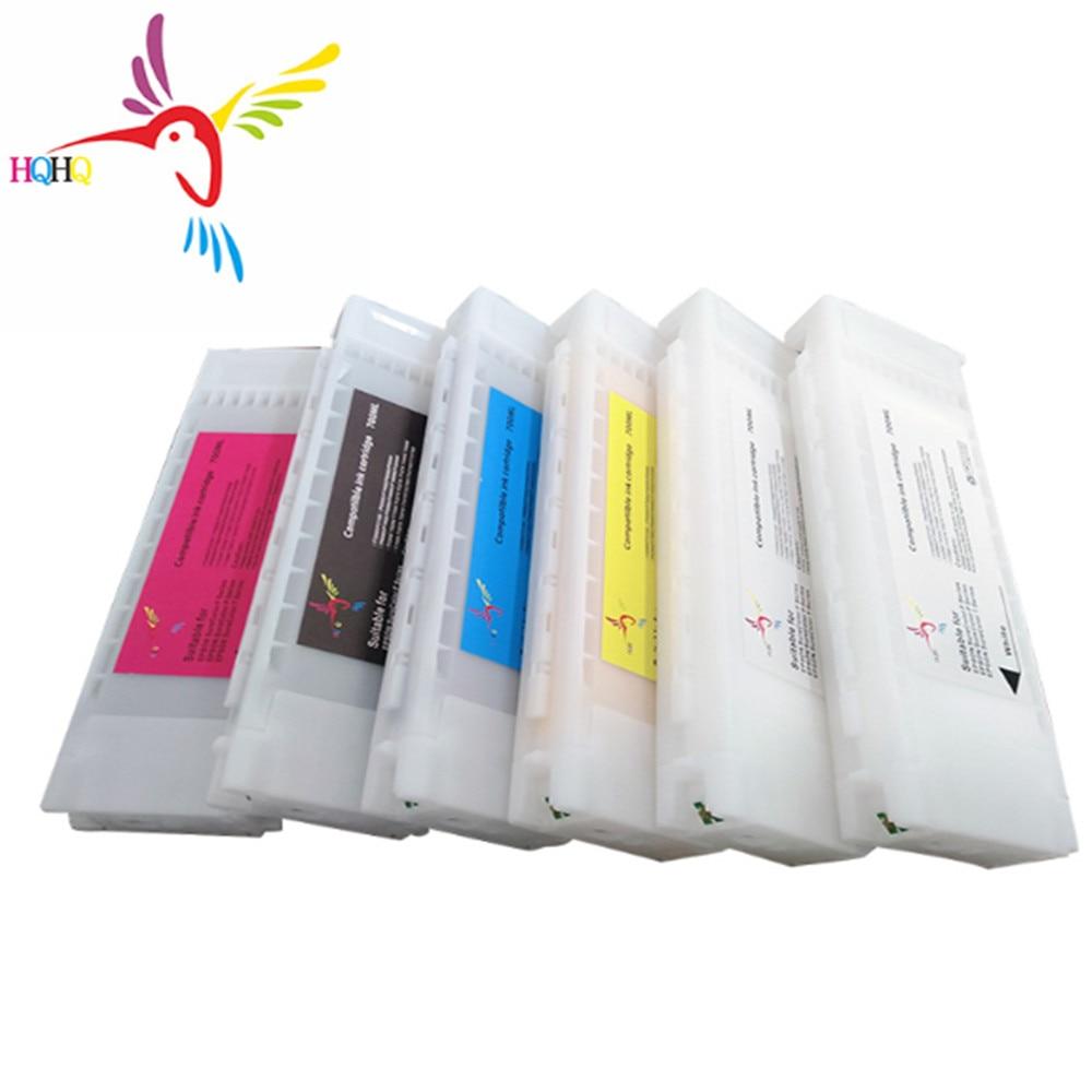 6pcs/Set T7251 T7254 T725A Compatible Empty Cartridge For Epson SureColor F2000 F2100 Printer T7251 T7254 T725A Cartridge 600ML|Ink Refill Kits| |  - title=