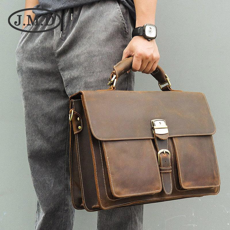 J.M.D 2019 New Arrival 100% Classic Leather Rare Crazy Horse Leather Handbag Briefcases Laptop bag For Men  7164