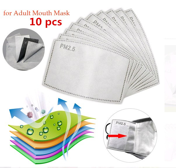 10Pcs/Lot 5 Layers PM2.5 N95 Activated Carbon Filter Insert Protective Filter Media Insert For Mouth Mask Anti Dust Mask