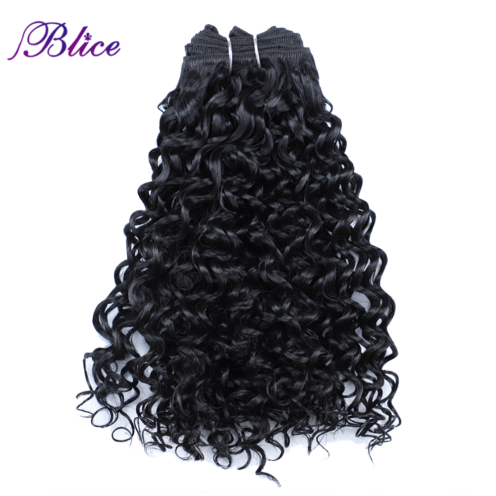 Blice Synthetic Hair Extensions Kinky Curly Hair Weaving Double Weft Hair Hair Weave Bundles For Black Women
