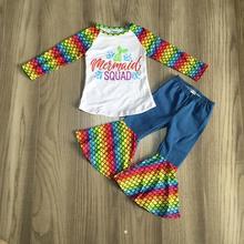منتجات وصلت حديثًا سراويل بتصميم جرس البحر لحورية البحر لفصل الخريف والشتاء للأطفال أطقم ملابس للأطفال
