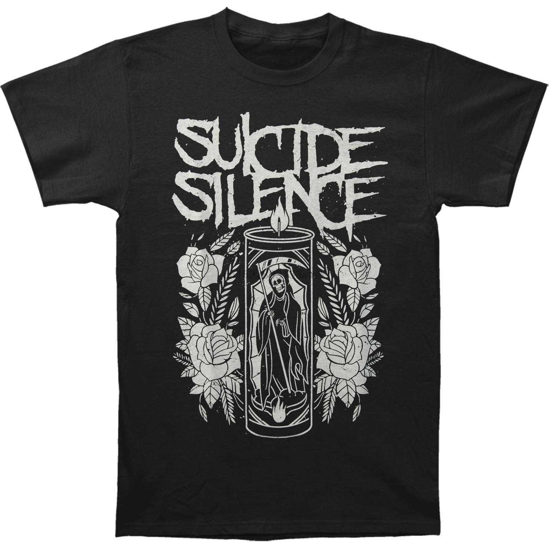 Camiseta preto da vela do ceifador do silêncio do suicídio dos homens