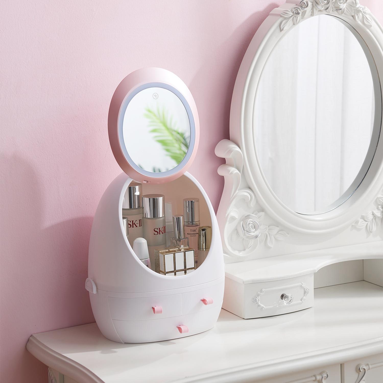 Women LED Light Makeup Organizer HD Mirror Cosmetic Storage Make Up Box Creative Beauty Box Detachable Desktop Plastic Organizer