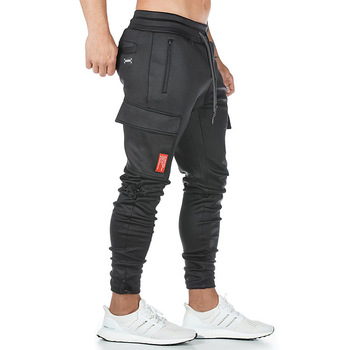 Men's fashion knitting fitness sweatpants outdoor gym running training slacks multi-pocket jogging squats cargo pants 1
