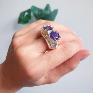 Image 3 - DreamCarnival1989 Purple Zircon Rings for Women Wedding Must Have 2019 Jewelry Owl Big Eyes Design Two Tones Color WA11754