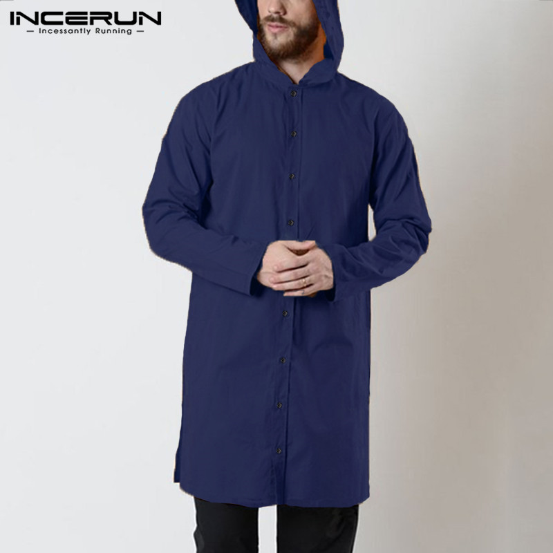 Vintage Mens Shirts Long Sleeve Button Hooded Solid Long Style Tops Indian  Suit Mens Shirts Muslim Clothing INCERUN 2020