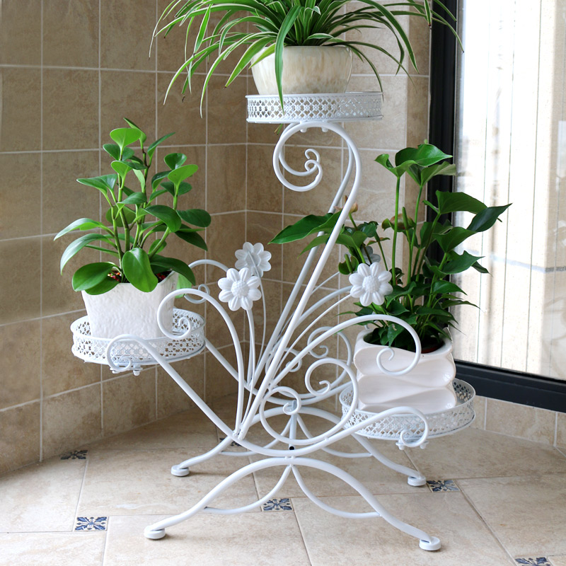 Flower Shelf Multi-storey Indoor Space Wrought Iron Balcony Living Room Hanging Orchid Green Floor-standing Pot Rack