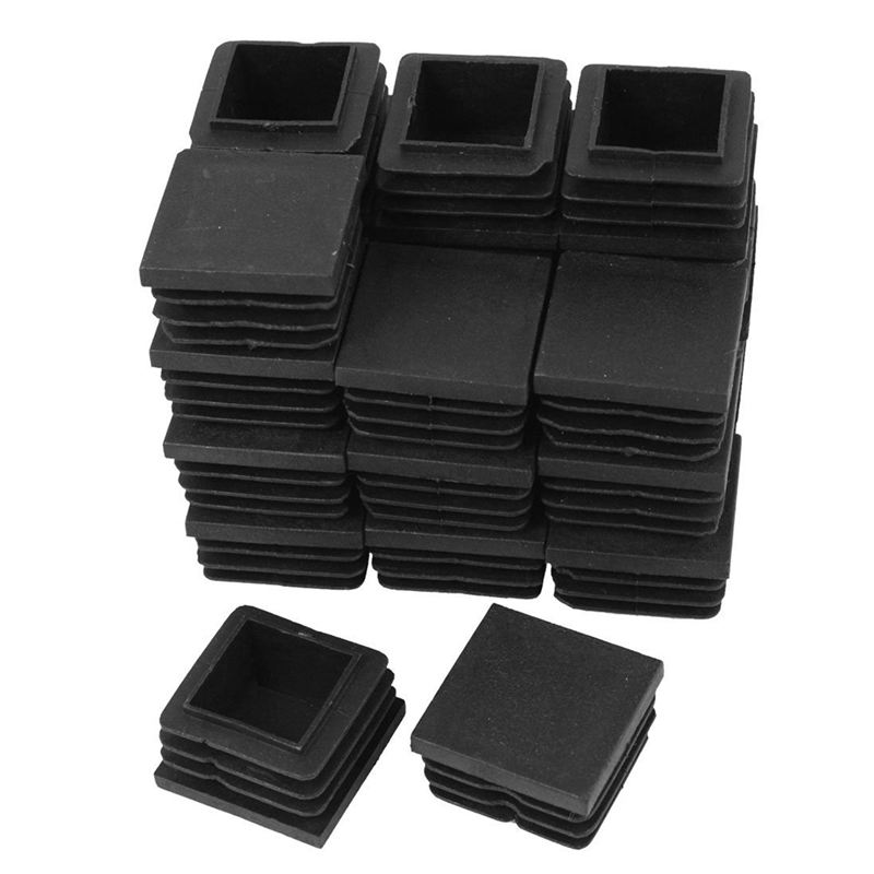 New 24 Pcs 30mm X 30mm Plastic Ribbed Square End Caps Tube Insert Black