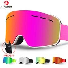 X-TIGER Брендовые женские лыжные очки, двухслойная противотуманная большая Лыжная маска UV400, очки, лыжные Солнцезащитные очки, мужские очки для...