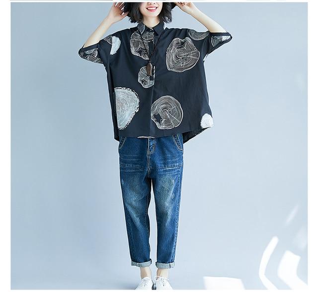 Women Plus Size Shirt Ladies Casual Printed Loose Blouse Tops Female 2019 Summer Shirt 2