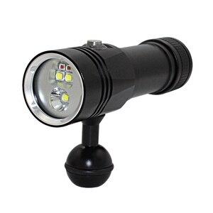 Image 4 - XHP90 فيديو ملء ضوء الغوص عمق 80 متر مصباح يدوي تحت الماء XM L2 أزرق أبيض أحمر التصوير كاميرا فيديو الشعلة الإضاءة