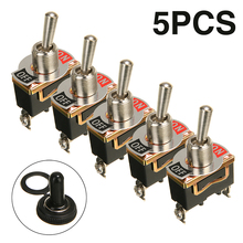 Mayitr 5Pcs/set 250V 15A Toggle Switch SPST 2Pin Heavy Duty Car Boat ON/OFF Rocker with Waterproof Cap