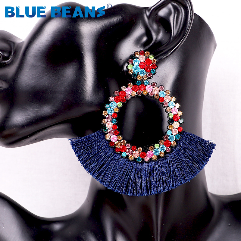 Hc35c64091d3b4e4ab6e3f7a9e71f17aet - Tassel Earrings Women Punk Earings Fashion Jewelry Hanging Crystal Star Girls Earring Drop Dangle Long Boho Set  Luxury Handmade