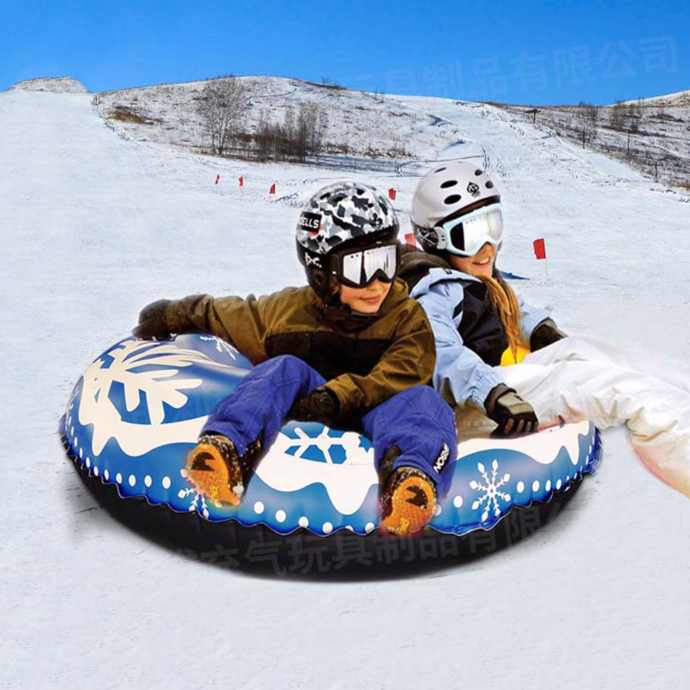 Pepional Ski Circle Snow Tube PVC Inflatable Snow Sledge High Performance Snow Tube Snow Toy for Outdoor Sports Adults Children 47 Inch Winter Frost Protection Heavy Duty Snow Tube with Handles