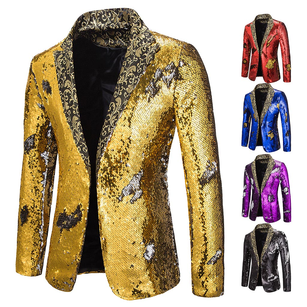 MJARTORIA Men  Sequin Double Breasted One Button Suit Men Wedding Party Stage  Costumes Nightclub Prom Blazer