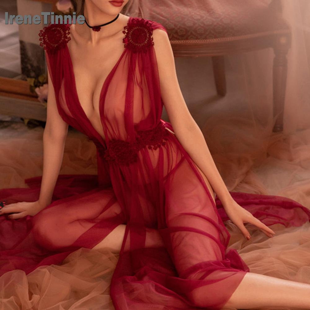 IRENE TINNIE Women Sexy Lingerie High-end Mesh Babydoll Chemise Porno Sex Underwear Dress Transparent Haltter Erotic Lingerie