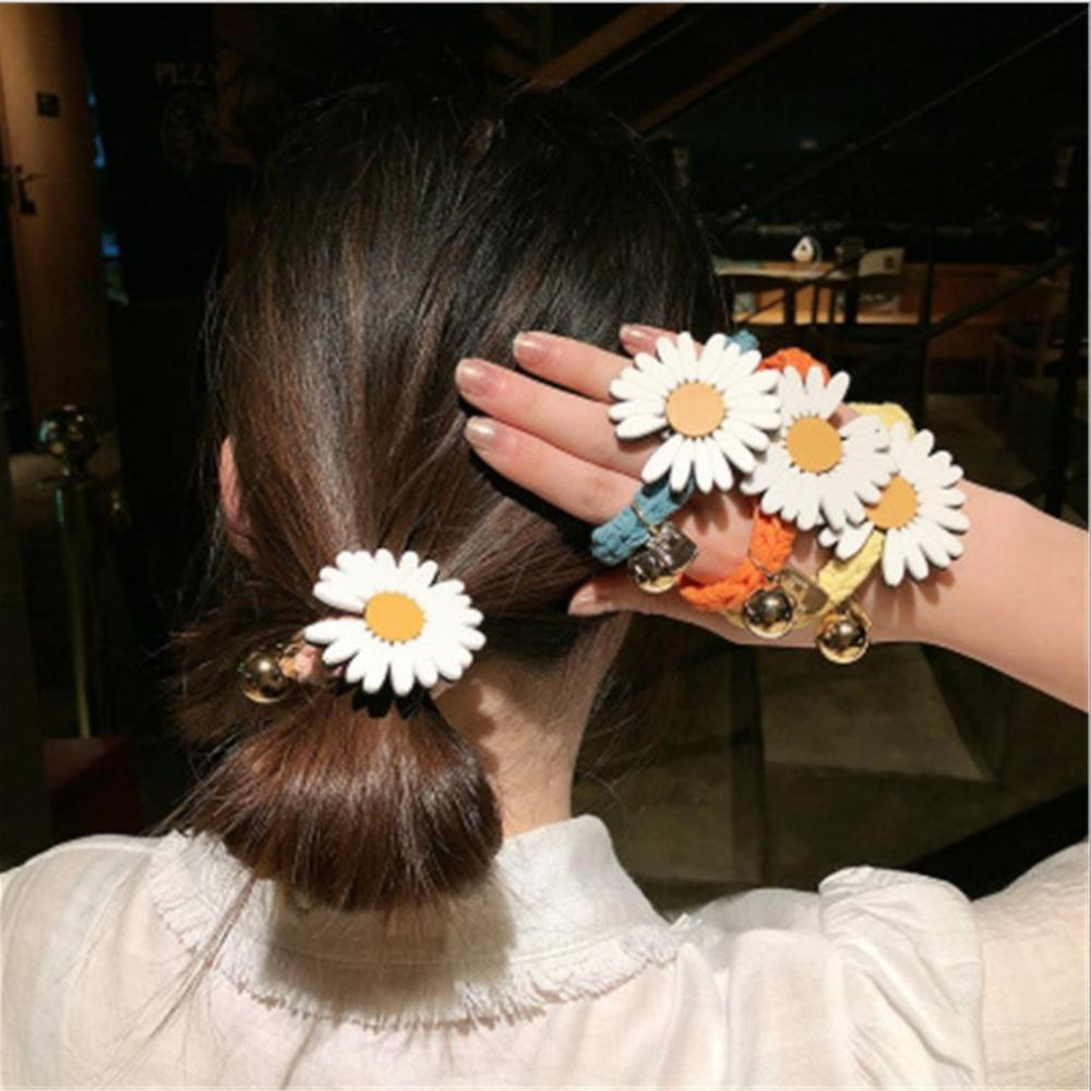Spring And Summer New Style Fashion Daisy Flower Hair Ring Female Tie Rope Korean Elastic Rubber Sunflower Hair Bands Hair Rope