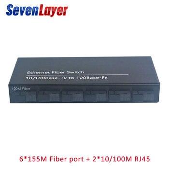 10/100M 2 RJ45 6 SC fiber Port  Fast Ethernet switch Converter  Ethernet Fiber Optical Media Converter Single Mode 2 pieces