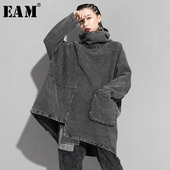 [EAM] Loose Fit Black Denim Oversized Sweatshirt New High Collar Long Sleeve Women Big Size Fashion Spring Autumn 2021 1K166 1