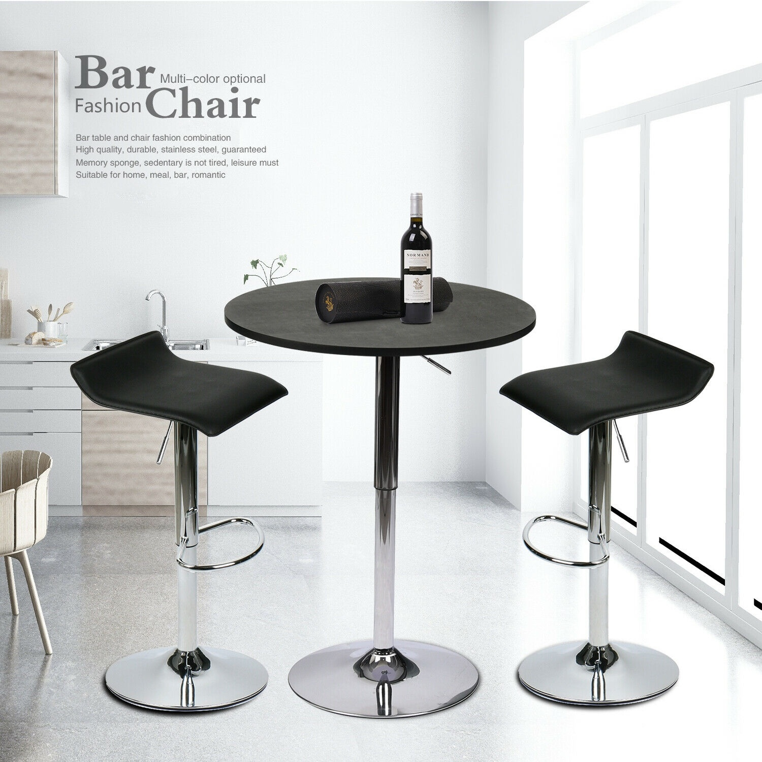 3 Piece Bar Table Stools Set Counter Adjustable Swivel Kitchen Dining Furniture