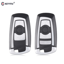 KEYYOU 10pcs 2/3 Buttons Car Remote Smart Key Shell Case fob Cover For BMW 1 3 5 6 7 Series X3 X4 Key Fob Protector Case
