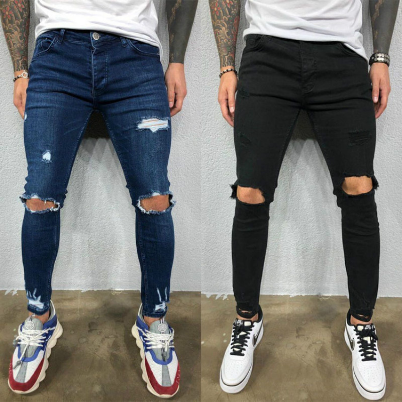 Mens Destroyed Skinny Jeans Cool Designer Stretch Ripped Denim Trousers For Men Casual Slim Fit Hip Hop Pencil Pants With Holes