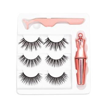 3 Pairs Magnetic Eyelashes Eyeliner Eyelash Curler Set5 Magnet Natural Long Magnetic False Eyelashes With Magnetic Eyeliner фото