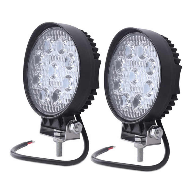 2pcs 12V 24V 27W LED Car Work Light Bar Spot Flood Beam Motorcycle Lamps LED Driving Car Foglight for Off Road For Tractor