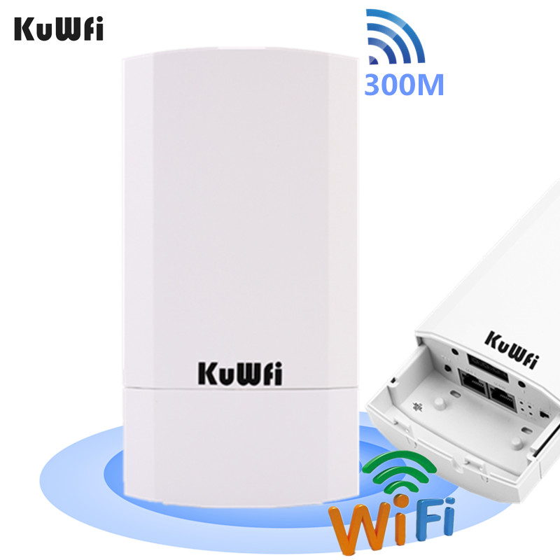 KuWFi Outdoor Wifi Router 300Mbps Wireless Repeater/Wifi Bridge Long Range One 2.4Ghz 1KM Outdoor CPE AP Bridge 24V POE LAN&WAN image
