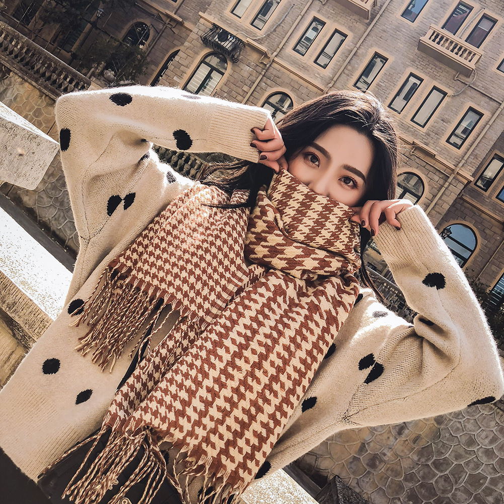 Winter Acrylic Scarf Women Thousand Bird Jacquard Plaid Long Cape