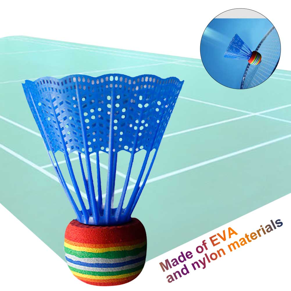 10pcs Indoor Badminton Training Gym Nylon Ball Outdoor Portable Entertainment Durable Practice Game Sport Rainbow Head Reusable