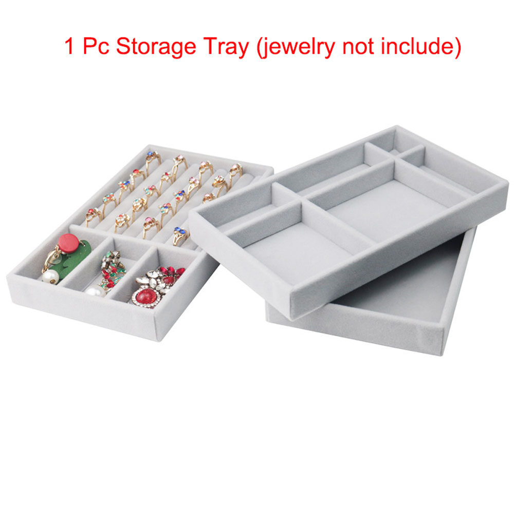 1 PC Jewelry Box Jewelry Display Holder Bracelet Ring Earring Pendant Velvet Tray Jewelry Storage Organizer Case
