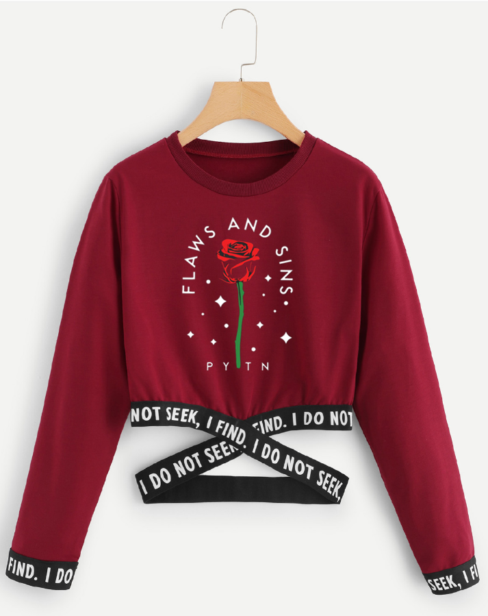 Sweatshirt Crop Payton Moormeier Streetwear Women Summer/autumn Long-Sleeve Cool Sexy title=