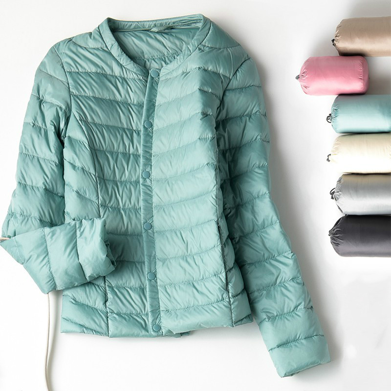 New Spring Autumn White Duck Down Coat Women Casual Ultra Light Collarless Down Jacket Short Coat Portable Parka Plus Size|Down Coats| - AliExpress