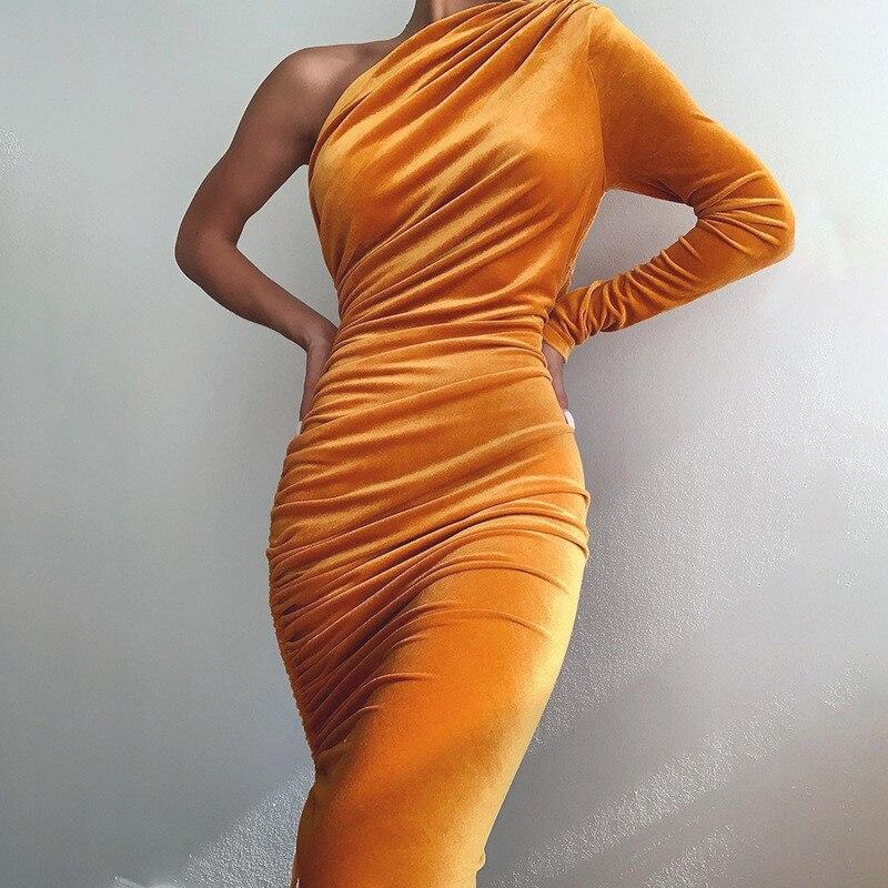 one shoulder midi dress07