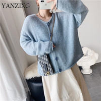 2019 Autumn New Code Single Row Buckle Round Neck Solid Color Beige Blue Pink Easy Cardigan Short Blouse Sweater S711