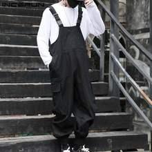 INCERUN – combinaisons Streetwear pour hommes, couleur unie, ample, mode, salopette à bretelles, multi-poches, 2021