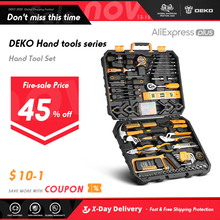 DEKO Hand Tool Set General Household Repair with Plastic Toolbox Case Socket Wrench Screwdriver Knife