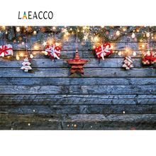 Laeacco Merry Christmas Old Wooden Board Star Bulb Pine Wreath Gift Baby Child Portrait Photo Backgrounds Photography Backdrop