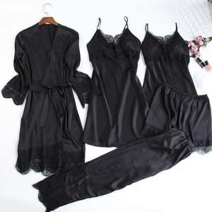 Image 3 - MECHCITIZ 5 pieces silk pajamas sets women satin sleepwear robe pants autumn pijamas bathrobe sexy lingerie lace winter pyjamas