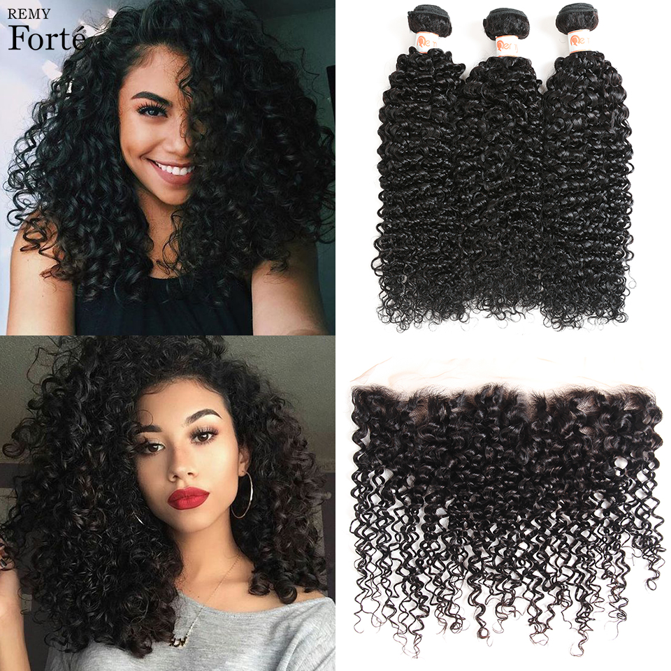 Remy Forte Curly Bundles With Closure 30 Inch Bundles With Frontal 100% Brazilian Hair Weave Bundles 3 Bundles Sleek Ponytail
