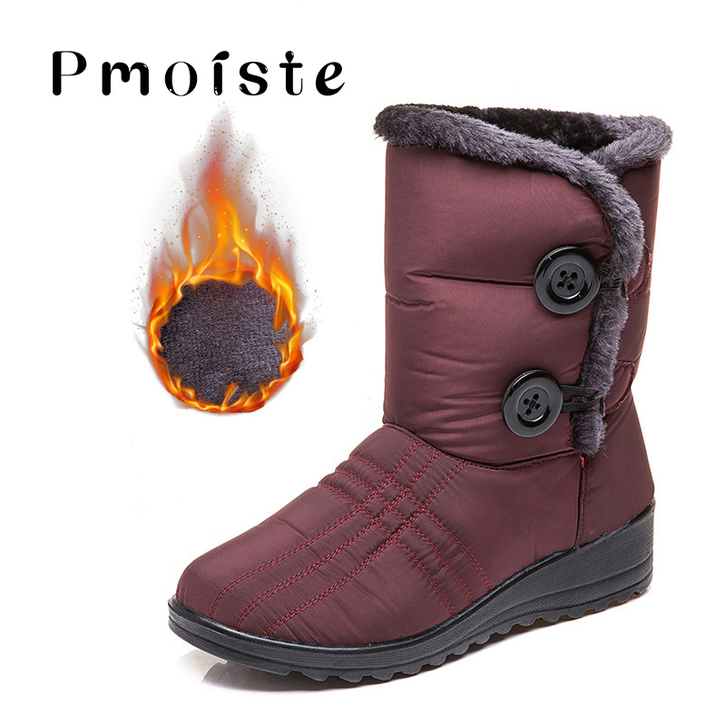 Women 39 s Boots Winter Silk Buckle Strap Non Slip Snow Boots for ladies TPU Fashion Ankle Boots Woman Wedges Casual Short Plush in Ankle Boots from Shoes
