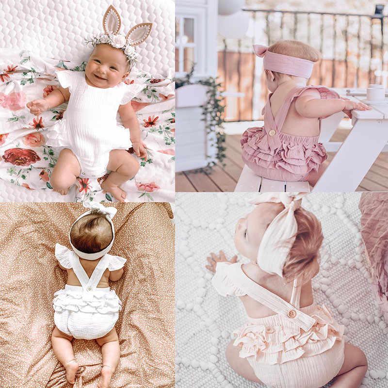 5 Kleuren Baby Meisjes Ruches Mouwloze Backless Romper Jumpsuit Outfits Sunsuit Voor Pasgeboren Peuter Baby Katoen Linnen Kleding