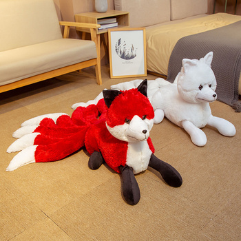 1PC Cute Soft White Red Nine Tails Fox Plush Toys Stuffed Animals Nine-Tailed Fox Kyuubi Kitsune Dolls Creative Gifts for Girls image