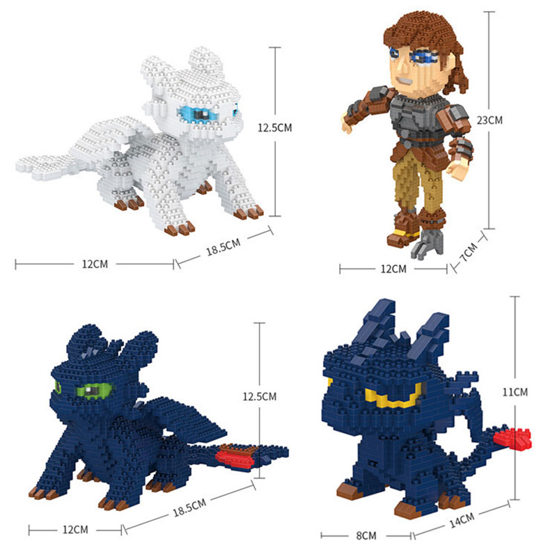 Mini Brick How To Train Your Dragon Block Set  3D DIY   White Toothless Night Fury Model Building  Toy For Children