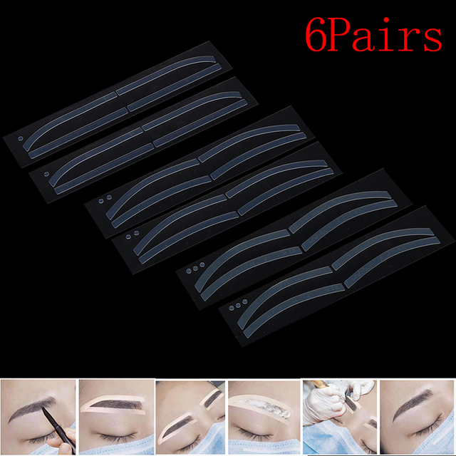 Hot 6Pairs Eyebrow Stickers Disposable Eyebrow Tattoo Shaping Sticker Auxiliary Template Brow Stencil Makeup 2