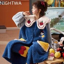 NIGHTWA Winter Warm Pajamas set Women Long Sleeve Nightgown Hooded Flannel Nightgowns NightDress Sleepwear Cute Princess set