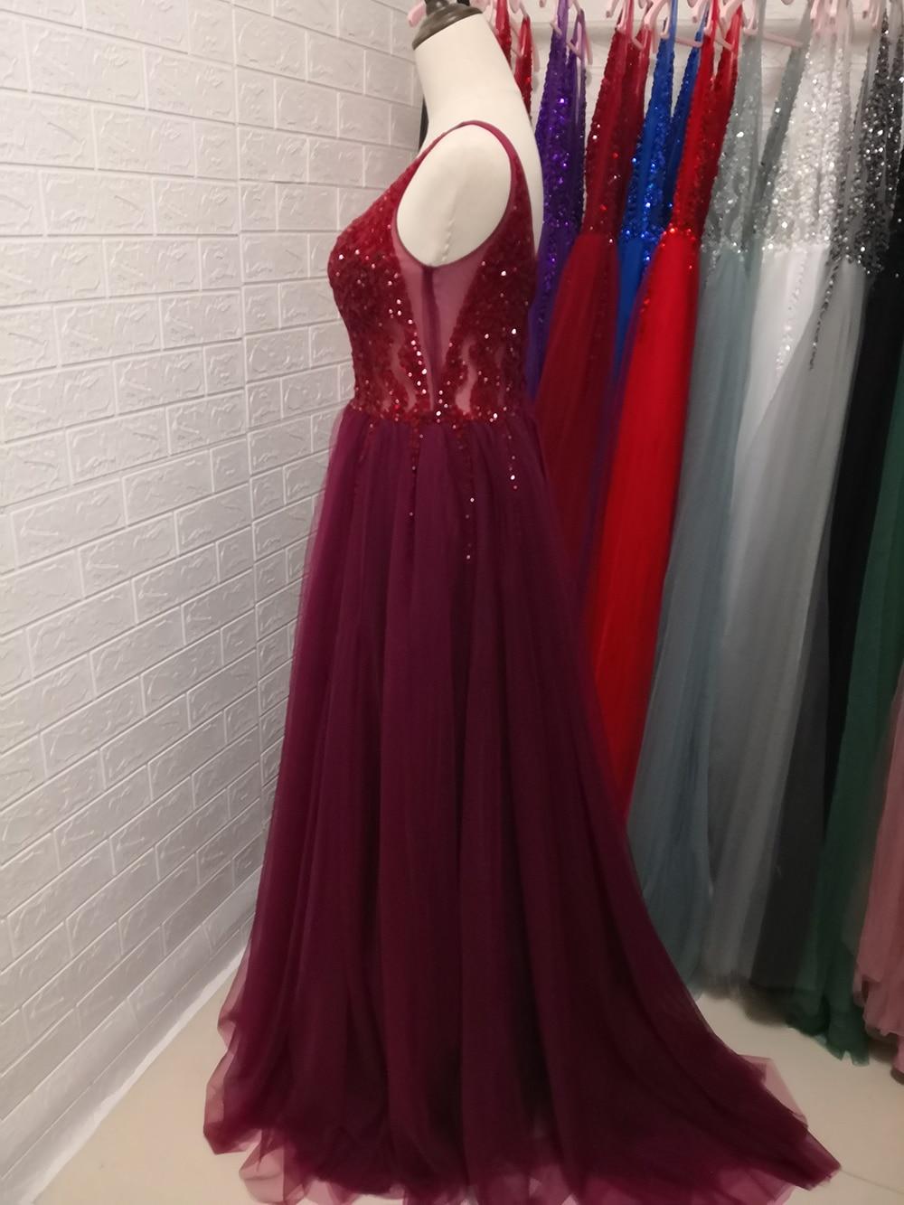 Сексуальное длинное вечернее платье с глубоким v-образным вырезом и разрезом сбоку, Новое поступление года, блестящее платье с высоким разрезом и открытой спиной, Abendkleider Lang - Цвет: dark burgundy